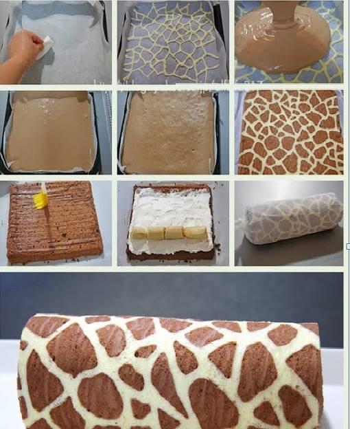 Zürafa Desenli Kakaolu Rulo Pasta