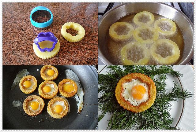 kahvaltılar için patates yuvasında yumurta
